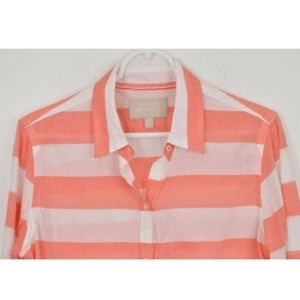 Banana Republic Soft Wash Medium Pink White Stripe